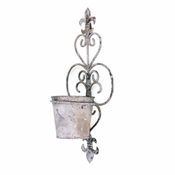 Image of Fleur-de-Lys Rustic Finish Wall Mountable Single Pot Planter