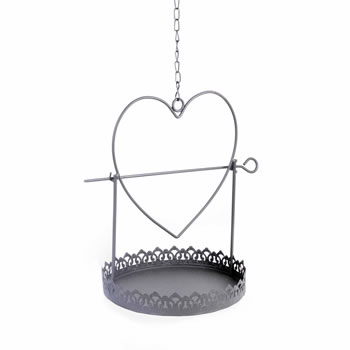 Image of Hanging Metal Heart Apple & Seed Bird Feeder in Rustic Decorative Finish