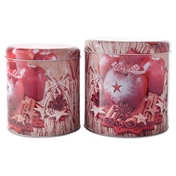 Image of Pair of Spiced Apple Design Christmas Metal Storage Tins