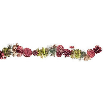 Image of Red, Green & Gold Cone, Leaf & Fir 1.2m Christmas Garland