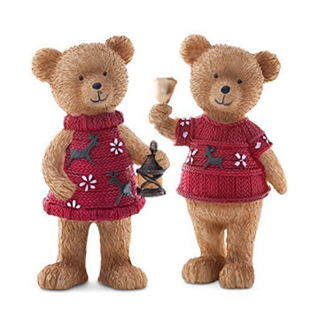Image of Set of Two Cute Standing Christmas Bear Ornaments with Red Jumpers