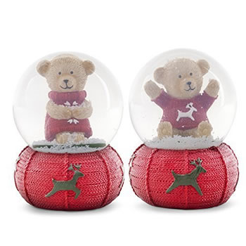 Image of Pair of Christmas Bear Snow Globe Ornaments