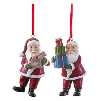 Image of Pair of Father Christmas Figurine Hanging Tree Decorations