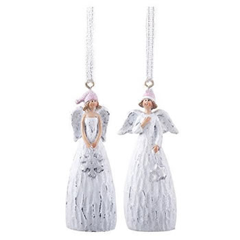 Image of Pair of Hanging White Christmas Angel Tree Decorations in Bobble Hats