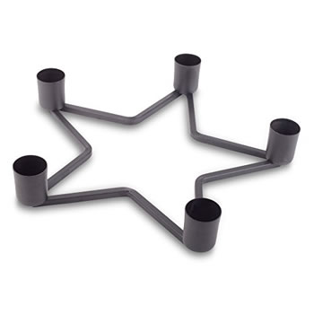 Image of Star Shaped Black Metal Christmas Table Decoration Holder for Five Candles
