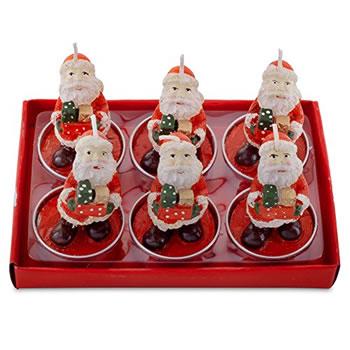 Image of Set of Six Father Christmas with Presents Tea Light Candle Decorations