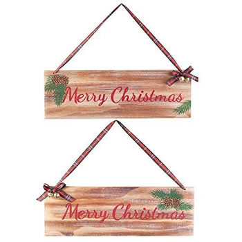Image of Pair of Wooden 'Merry Christmas' Hanging Festive Plaque Signs