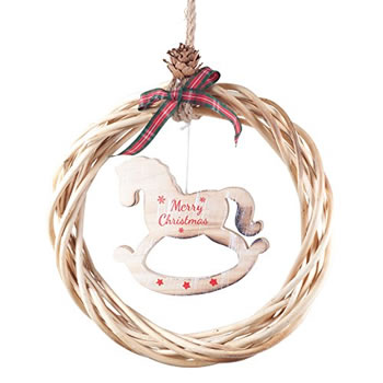 Image of Rustic Hanging Wood & Wicker 21cm Wreath with 'Merry Christmas' Rocking Horse