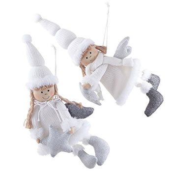 Image of Pair of Large Hanging White & Silver Fabric Flying Angel Christmas Tree Decorations