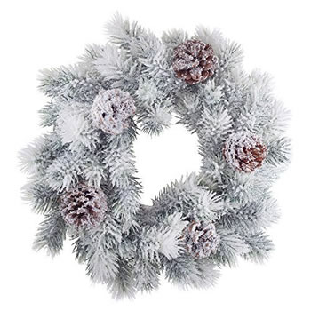 Image of 40cm Traditional Fir Christmas Wreath Decoration with Snow Effect and Pine Cones