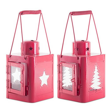 Image of Pair of 23cm Red Metal Christmas Star & Tree Cut-Out Candle Lanterns