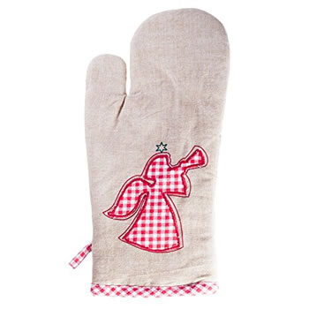 Image of 'Merry Christmas' Cotton Kitchen Household Oven Glove with Angel