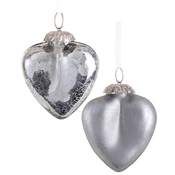 Image of Pair of Grey Silver Crackle Glass Heart Christmas Tree Bauble Decorations