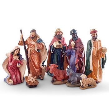 Image of Large Traditional 9pc Christmas Nativity Scene Ornament Set