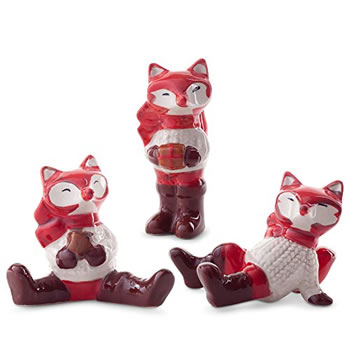 Image of Ceramic Fox Trio Figurine Ornaments for Christmas Home Decoration