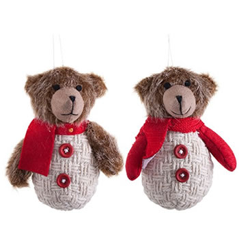Image of Pair of Hanging Christmas Fabric Bear Tree Decorations with Red Scarves