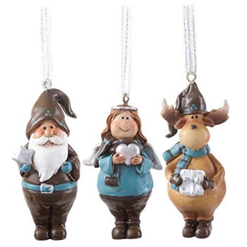 Image of Father Christmas, Angel & Reindeer Figurine Hanging Christmas Tree Decorations