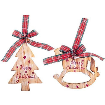 Image of Rustic Wooden Tree & Rocking Horse 'Merry Christmas' Tree Decorations