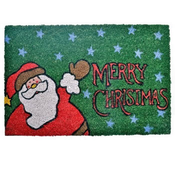 Image of Merry Christmas Coir Doormat for the Home with Father Christmas Design