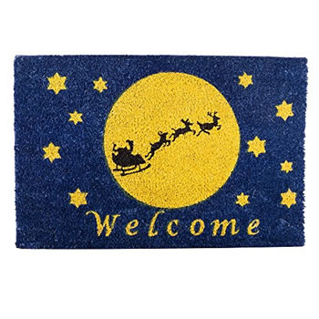 Image of Santa Sleigh Silhouette in Night Sky Christmas Coir Doormat Home Accessory