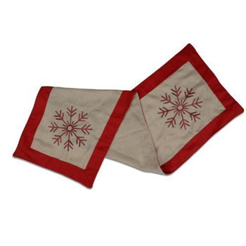 Image of Christmas Table Runner with Stitched Snowflake Design