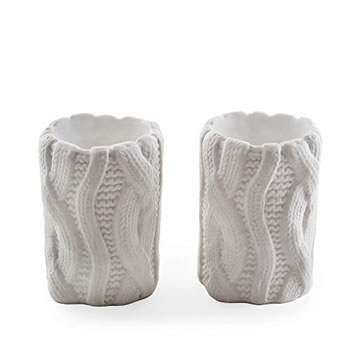 Image of Set of Two White Woolen Effect Tealight Candle Holders for Home Christmas Display