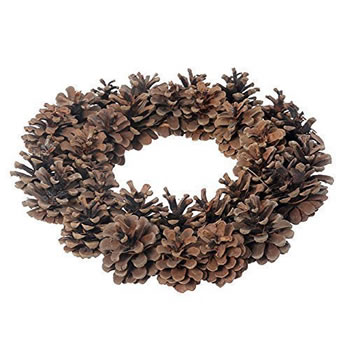 Image of Round Natural Brown Pine Cone Christmas Wreath