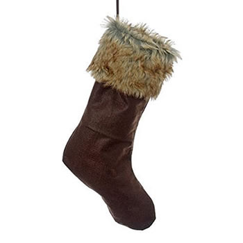 Image of Contemporary Felt Christmas Stocking with Faux Fur Edging