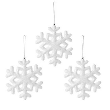 Image of Set of Three Frosty White 20cm Snowflake Hanging Christmas Tree Decorations