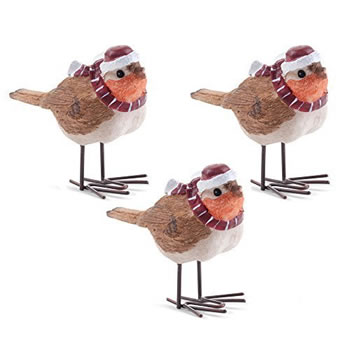 Image of Set of Three Christmas Winter Robin Ornaments in Hats & Scarves