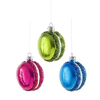 Image of Three Bright Coloured Macaron Christmas Tree Bauble Decorations Green, Blue & Purple