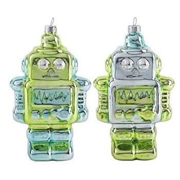 Image of Pair of Metallic Green & Blue Glass Robot Novelty Christmas Decoration Baubles