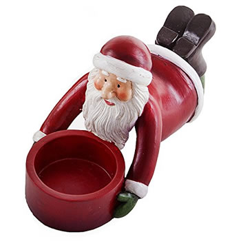 Image of Laying Father Christmas Tealight Holder Festive Lighting Feature