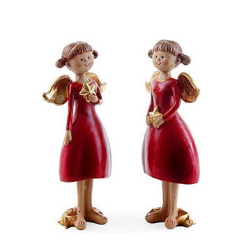 Image of Set of Two Standing Red Angel Figurines with Gold Stars Christmas Ornaments