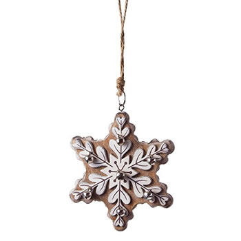 Image of Large Brown Wooden Snowflake Christmas Tree Decoration w/ Jingle Bells