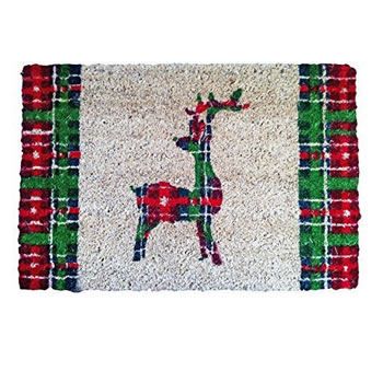 Image of Tartan Print Coir Doormat w/ Backward Facing Christmas Reindeer Design