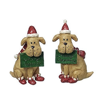 Image of Sitting Dog Christmas Ornaments with Festive Hat & Scarf