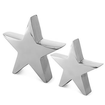 Image of Set of 2 Silver Aluminium Metal Star Christmas Home Ornaments