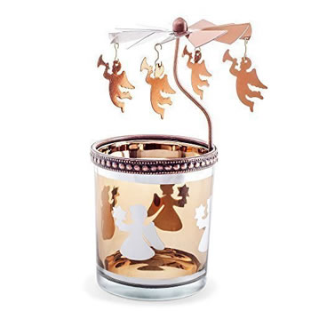 Image of Copper Finish Metal & Glass Spinning Carousel Christmas Tea Light Holder with Angels