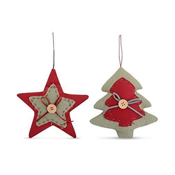 Image of Set of Two Hanging Fabric Christmas Tree & Star Shaped Festive Decorations