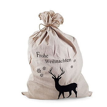 Image of Large ' Frohe Weihnachten ' or ' Merry Christmas ' Linen Present or Gift Sack