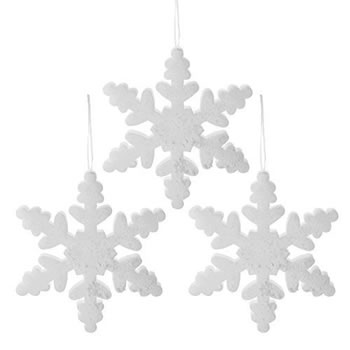 Image of Set of Three 30cm White Glitter Foam Christmas Snowflake Decorations