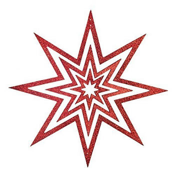 Image of Medium Hanging Wooden Red Glitter Christmas Star Decoration