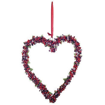 Image of Large Hanging Heart Christmas Decoration Wreath w/ Artificial Frosted Red Berries