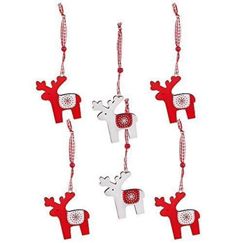 Image of Pack of 6 Red & White Wooden Scandi Reindeer Hanging Christmas Tree Decorations