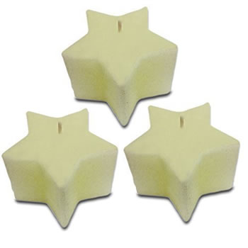 Image of Set of Three White Star Shaped Wax Christmas Candles