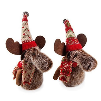 Image of Set of Two Fabric Moose Hanging Christmas Tree Decorations