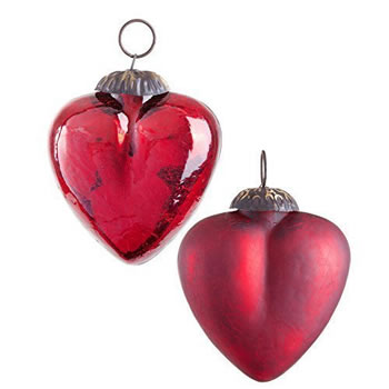 Image of Pair of Dark Red Crackle Glass Heart Christmas Tree Bauble Decorations