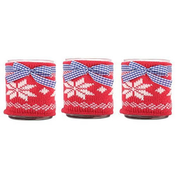 Image of Set of Three Large Glass Tealight Holders with Winter Snowflake Knitted Cozy
