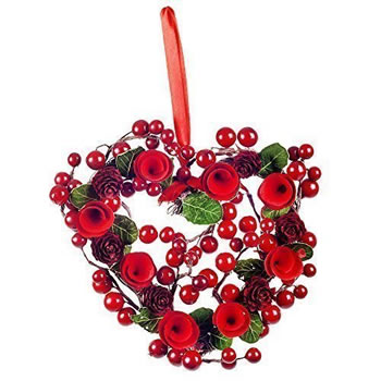 Image of Seasonal Hanging Artificial Red Berry & Spiral Wood Christmas Heart Wreath